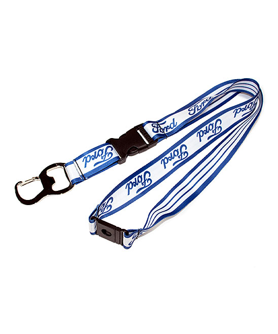 Blue Ford Lanyard Blue Ford Lanyard. Keep keys safe and sound with this lanyard designed with classic Ford logoing. Wipe cleanImported