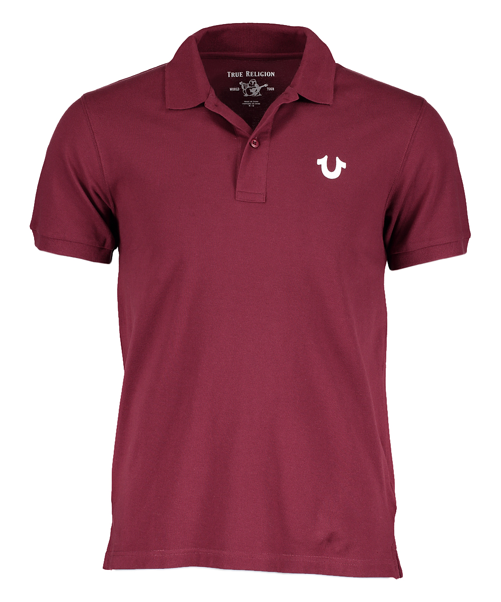 True Religion Burgundy White Crafted With Pride Polo Men Zulily