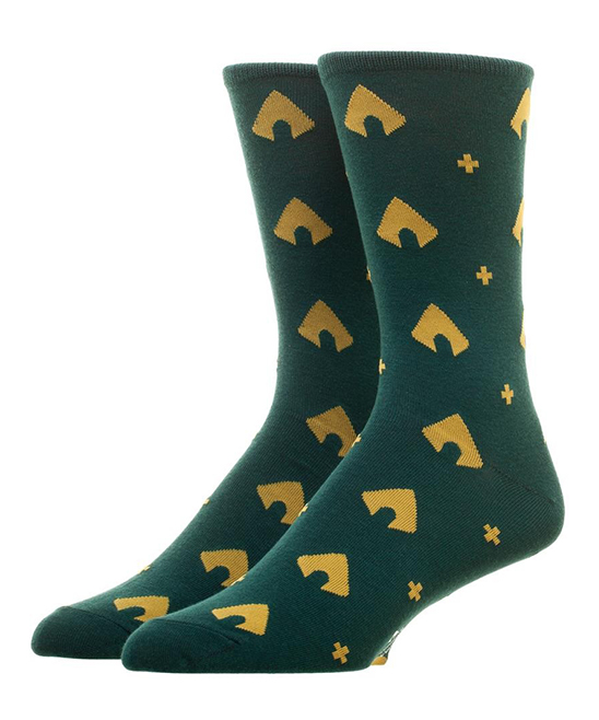 Aquaman Socks - Men Aquaman Socks - Men.  Add some character to your sock game courtesy of these Aquaman themed socks.98% polyester / 2% spandexMachine wash; tumble dryImported
