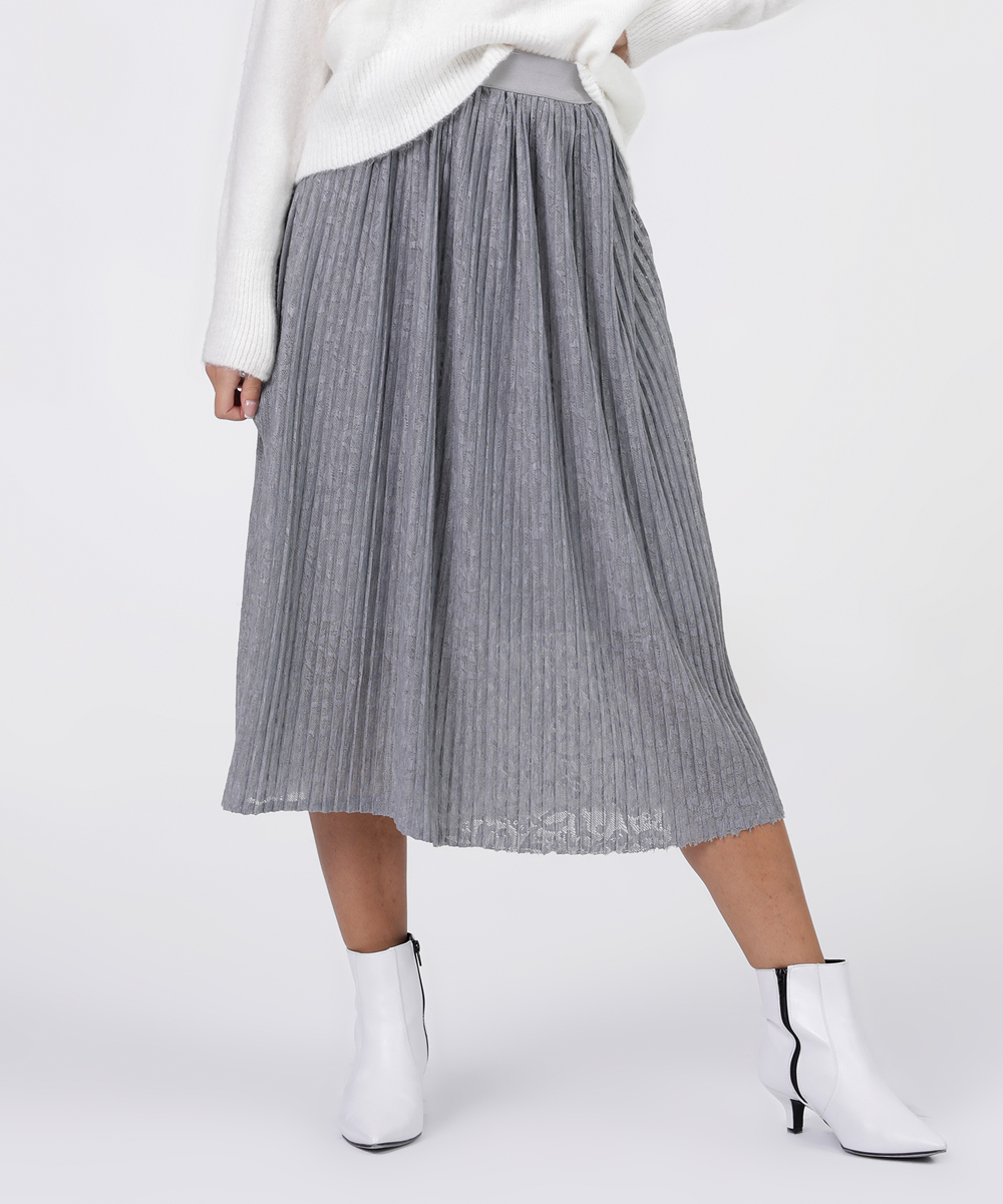 63c7ec22c Grey Cotton Pleated Midi Skirt | Saddha