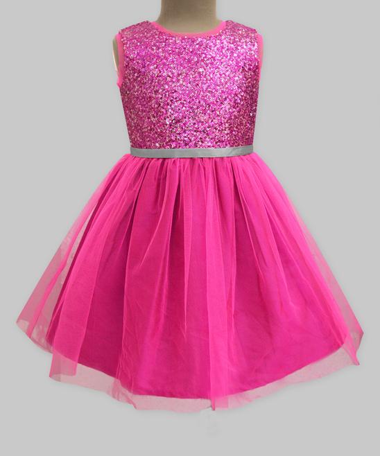 Billieblush Girls Glittery tulle dress and headband fuschia