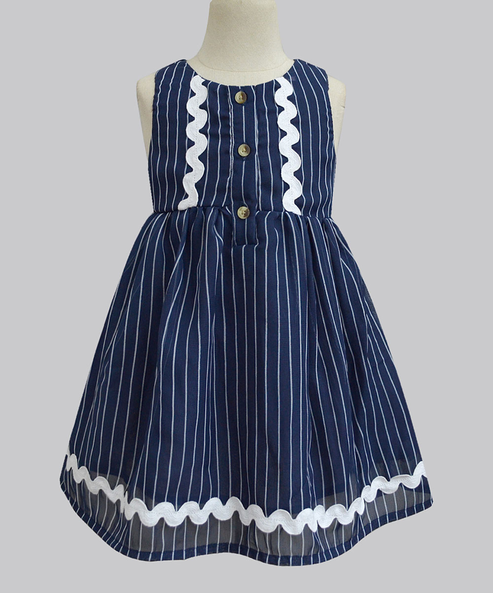 f6b2db57a A.T.U.N. Navy Railroad Stripe Penelope A-Line Dress - Girls | Zulily