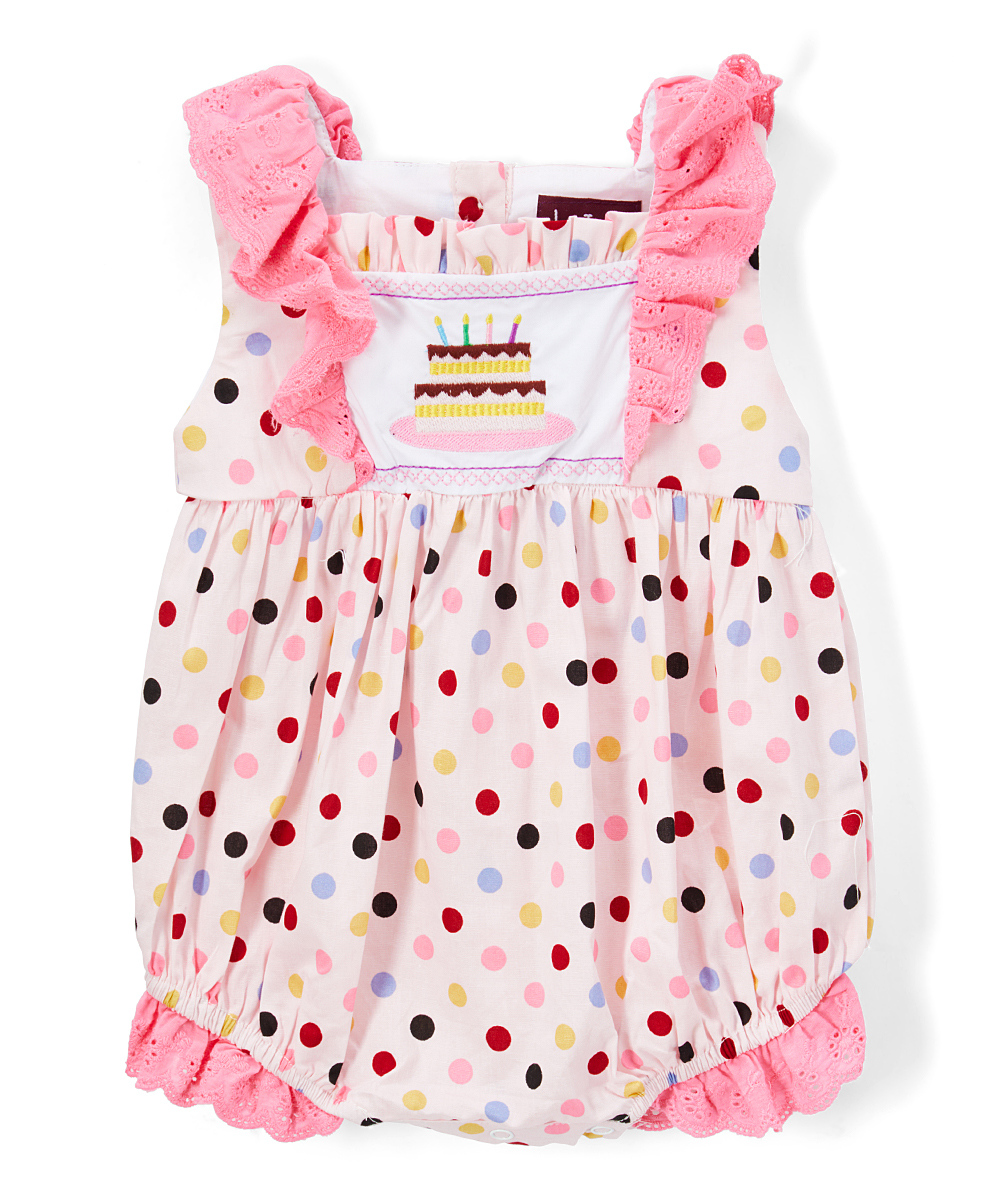 e08754e44 Lil Cactus Pink   White Polka Dot Cake Embroidered Romper - Infant ...