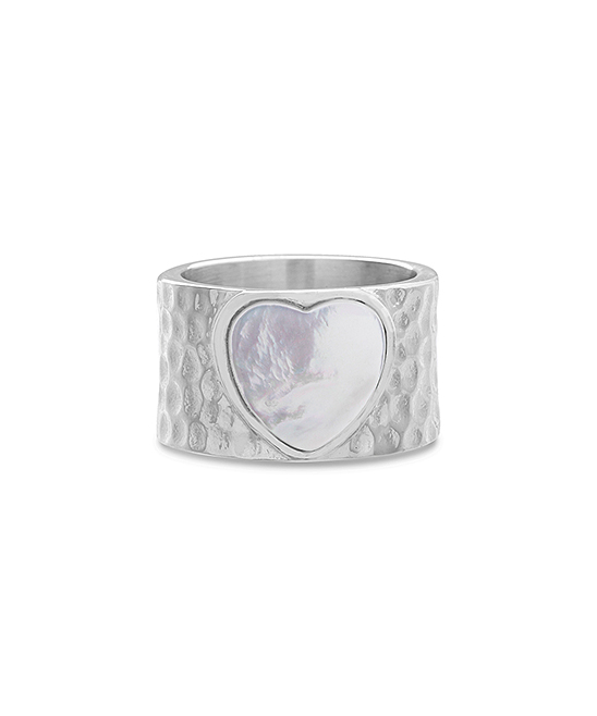 Mother-Of-Pearl & Stainless Steel Heart Hammered Wide-Band Ring