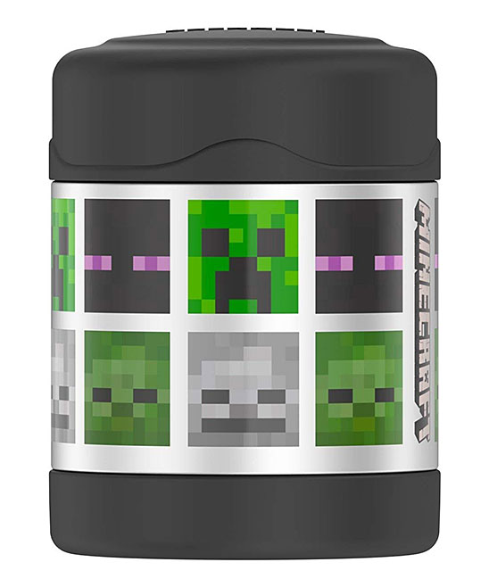 Thermos  Food Storage Containers  - Minecraft 10-Oz. Thermos Minecraft 10-Oz. Thermos. Stock up on your savvy snacking must-haves with this versatile insulated thermos, ideal for keeping soups, stews or beverages warm on the go.Holds 10 oz.Stainless steel / plasticBPA-freeHand washImported