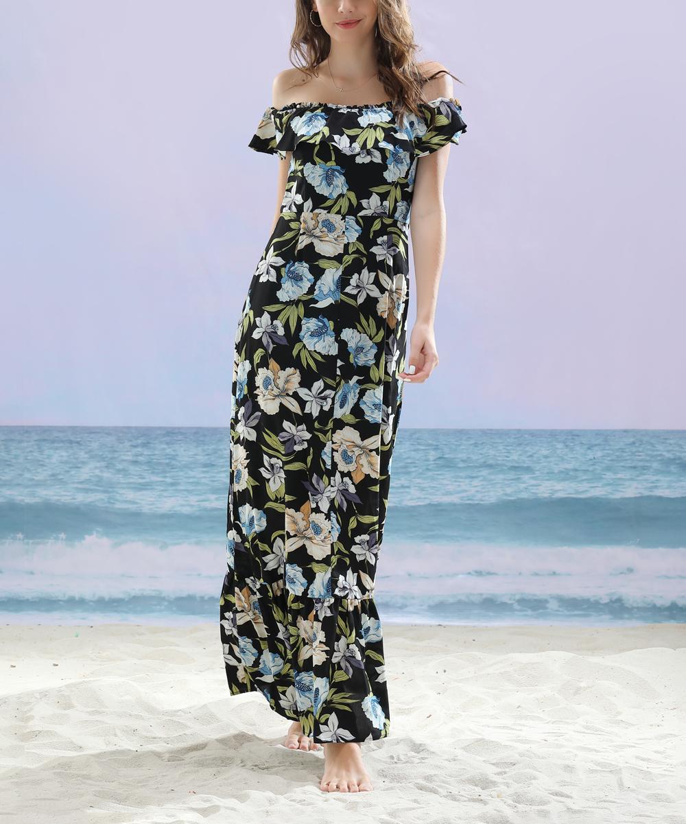 0e4583568e7 Z Avenue Black Beige Floral Off-Shoulder Peasant Maxi Dress - Women ...