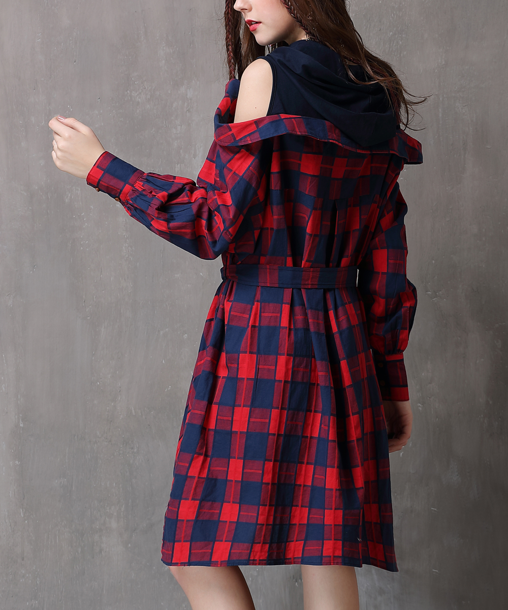 4fc073c5b6f5 ... Womens RED Red Plaid Off-Shoulder Shirt Dress - Alternate Image 3 ...