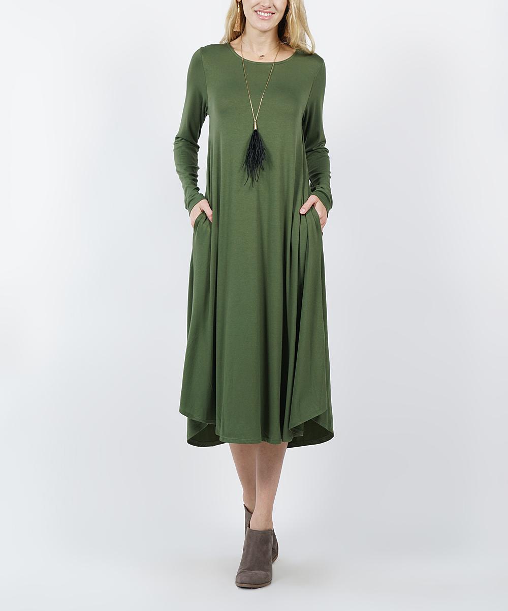 7bcde03897 Army Green Long-Sleeve Side-Pocket Midi Dress - Women   Plus