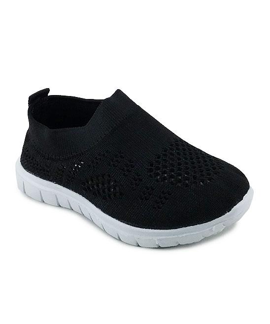 Ositos Shoes  Sneakers BLACK/WHITE - Black & White Solid Slip-On Sneaker - Kids