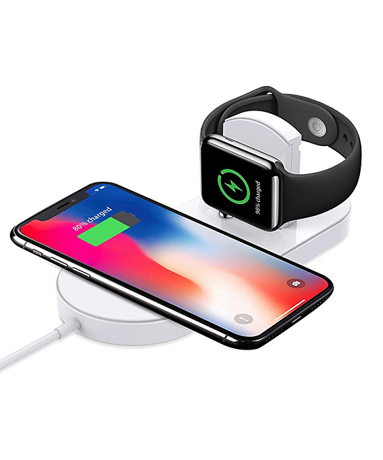 Tech Zebra  Smart Watches White - Wireless Smart Phone & Apple Watch Charger