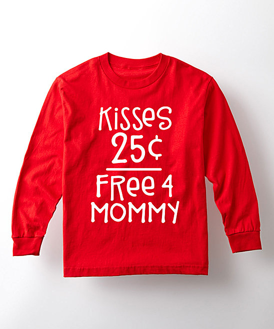 Instant Message  Tee Shirts RED - Red 'Kisses 25' Long-Sleeve Tee - Kids