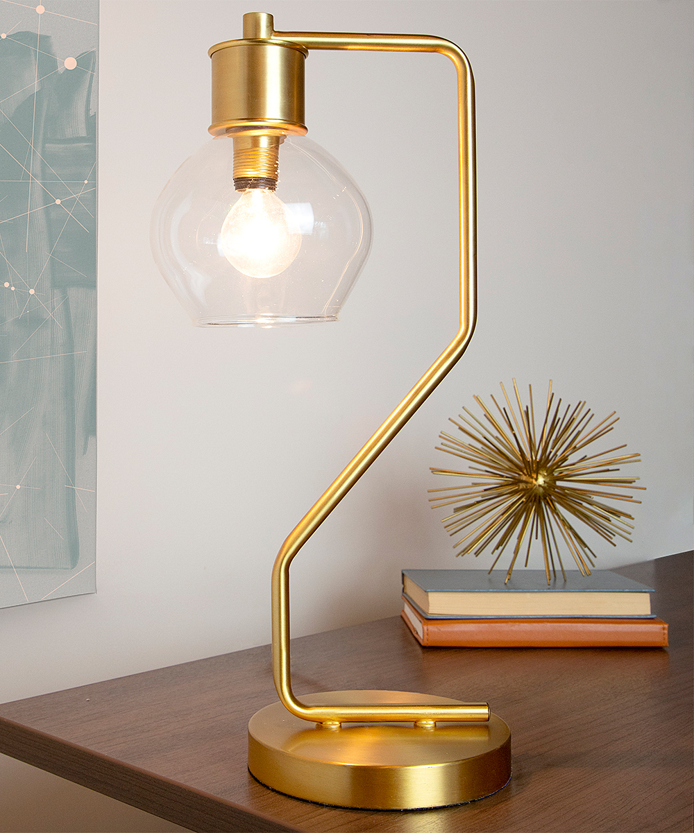 River of Goods  Indoor Table Lamps Gold - Gold Angled Table Lamp