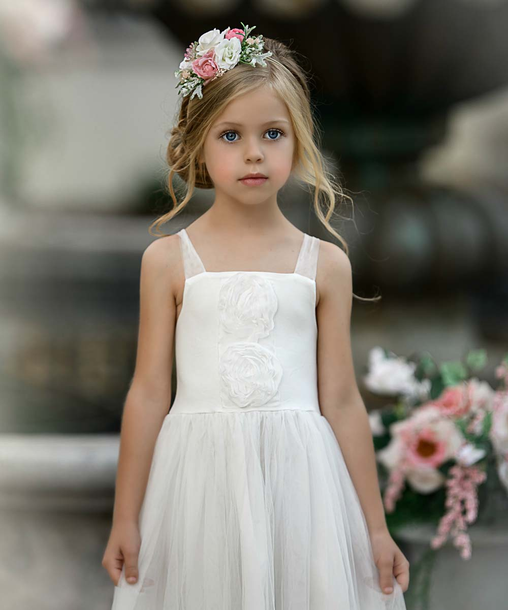 e875b9323728 Think Pink Bows Off-White Francesca Flower Girl Dress - Girls | Zulily