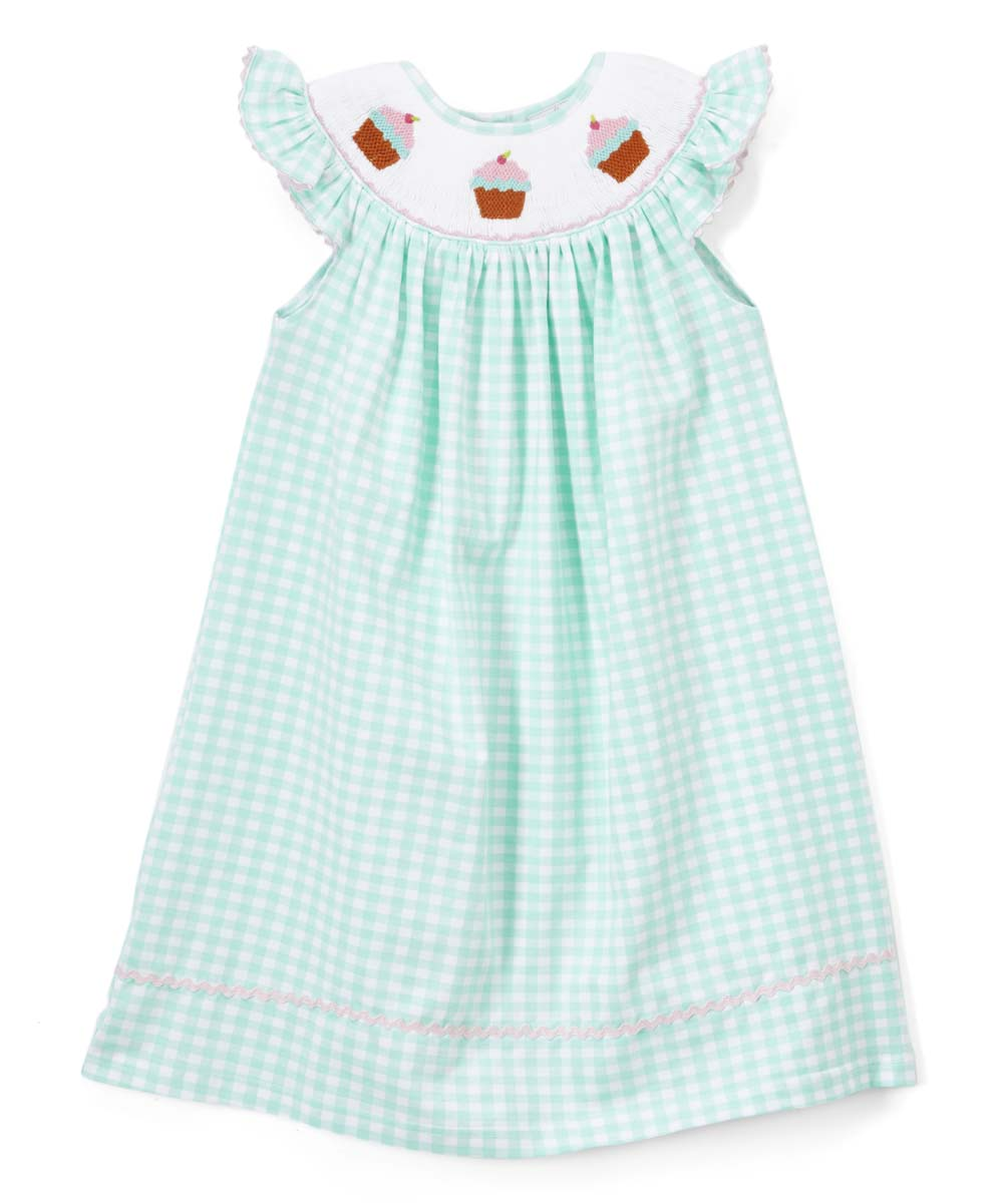 c1dc13507660 Smocked or Not Mint Gingham Cupcake Angel-Sleeve Dress - Infant ...