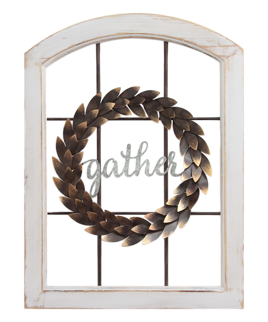 Stratton Home Decor  Typography Wall Decor Multi - 'Gather' Window & Wreath Wall Decor 'Gather' Window & Wreath Wall Decor. Bring a sweet sentiment to your home with this faux window trimmed with a wreath that adds instant charm to your decor. Full graphic text: Gather24.02'' W x 17.72'' H x 1.97'' DFir / metalReady to hangImported