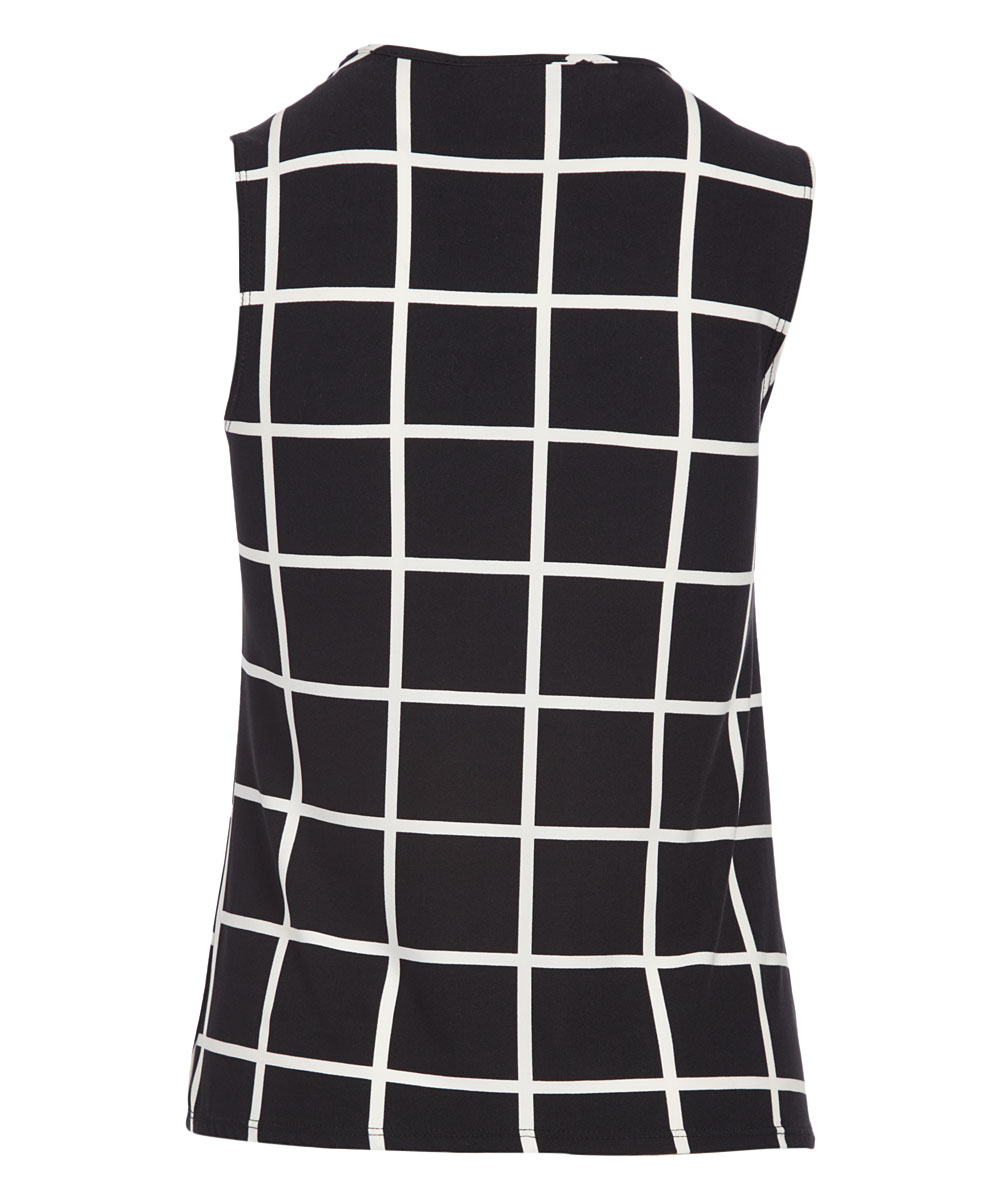 11e554180c04d love this product Black   Ivory Grid Pleated Keyhole Sleeveless Top - Women