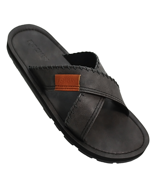 Black Crisscross Wide-Strap Slide - Men Black Crisscross Wide-Strap Slide - Men. He'll run errands in a flash with these comfortable slides featuring a trendy wide-strap design and durable long-lasting rubber material.  Man-made upperMan-made liningMan-made soleImported