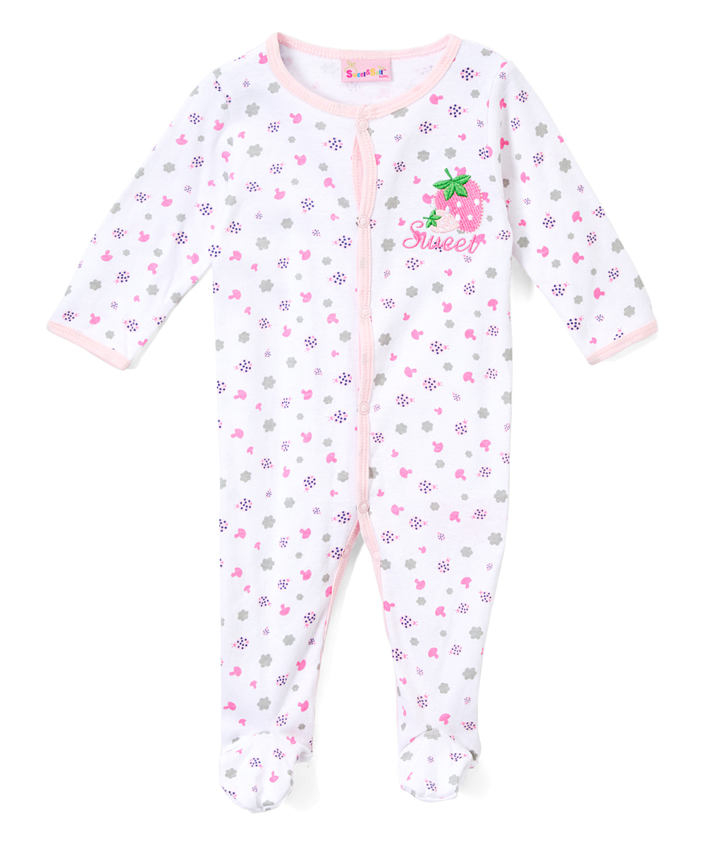Sweet & Soft Girls' Footies Light - Light Pink Strawberry Footie - Newborn & Infant