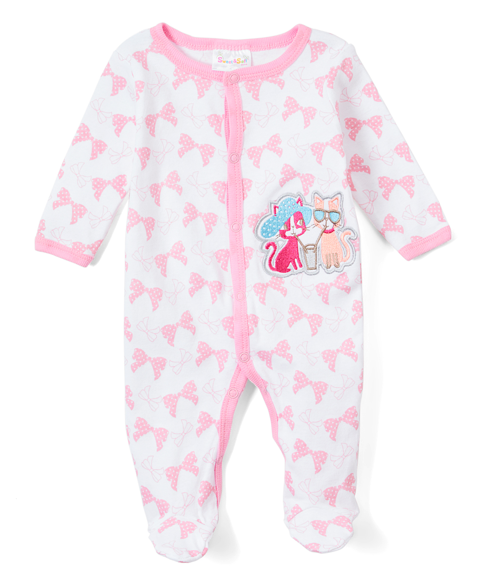 Sweet & Soft Girls' Footies Light - Light Pink Kitty Friends Footie - Newborn & Infant