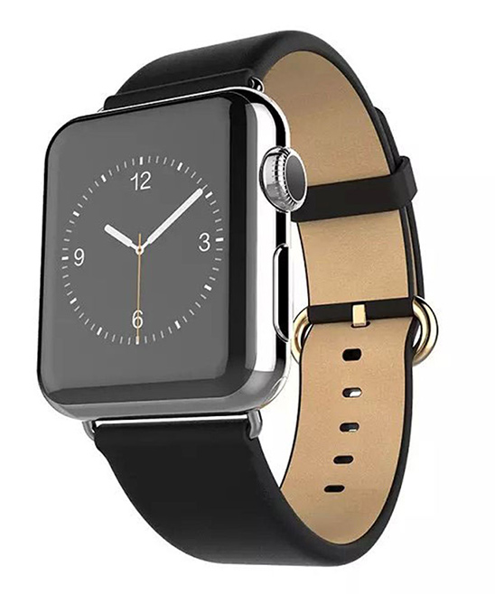 Waloo  Replacement Bands Black - Black Leather Grain Apple Watch Band