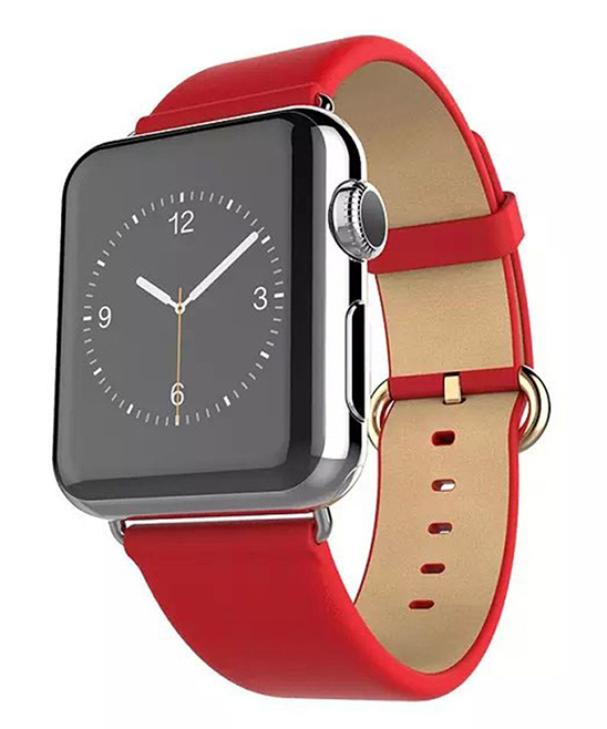 Waloo  Replacement Bands Red - Red Leather Grain Apple Watch Band