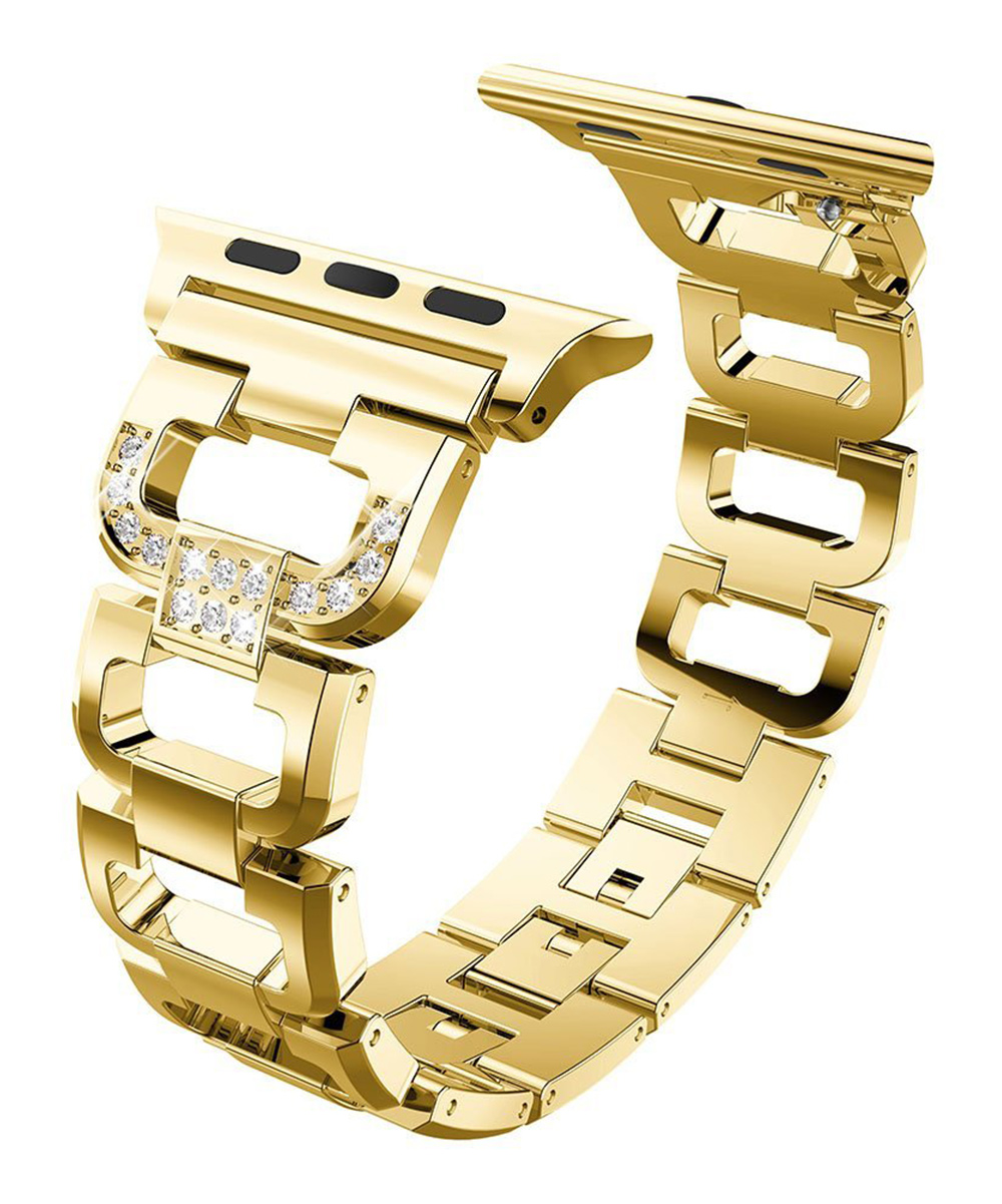 Waloo  Replacement Bands Gold - Gold Goldtone Rhinestone Band for Apple Watch 1/2/3/4