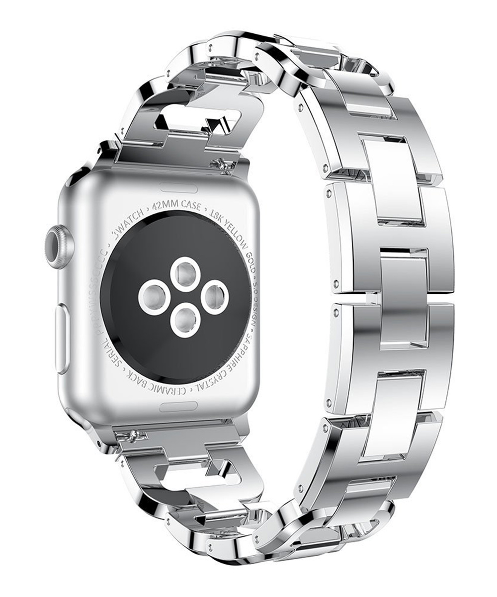 Waloo  Replacement Bands Silver - Silver Silvertone Rhinestone Bling for Apple Watch 1/2/3/4