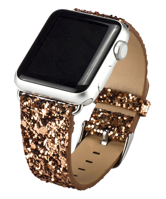 Waloo  Replacement Bands Gold - Gold Leather Sparkle Bling Apple Watch Band