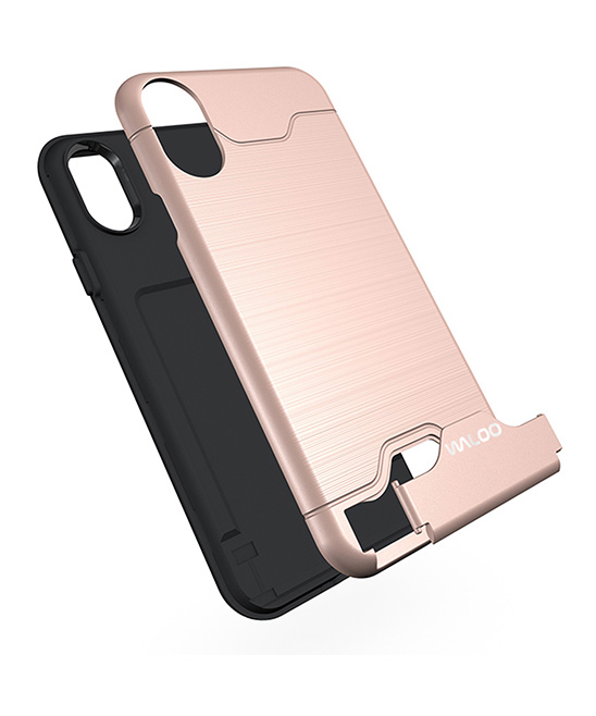 Pink Kickstand Credit Card Case for iPhone 6/6s/6s Plus/7/8/X/XS