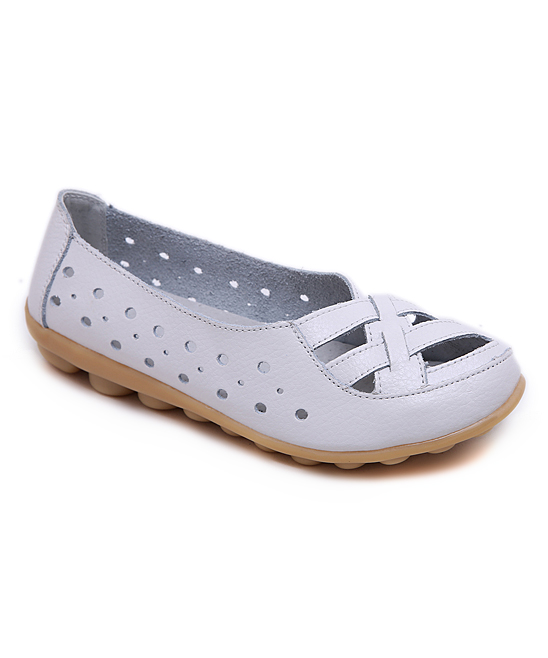 28eae934cdbfc Wei Deng White Perforated Woven Leather Loafer - Women