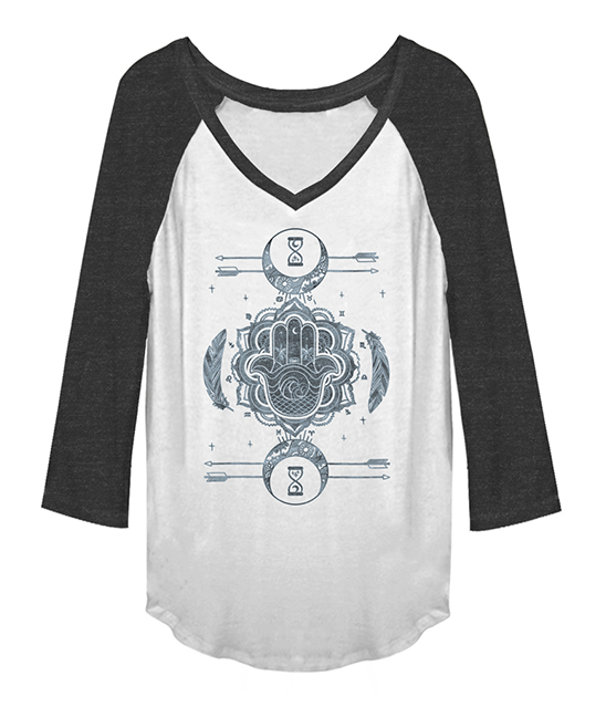 Black & White Summer Solstice Raglan Tee - Juniors Black & White Summer Solstice Raglan Tee - Juniors. Featuring an abstract graphic, this comfortable raglan made from a stretch-blend is a great addition to your wardrobe.Size XS: 25.5'' long from high point of shoulder to hemPrinted with phthalate-free water-based inks70% polyester / 30% rayonMachine wash; tumble dryImported, screen printed in the USAShipping note: This item is made to order. Allow extra time for your special find to ship.