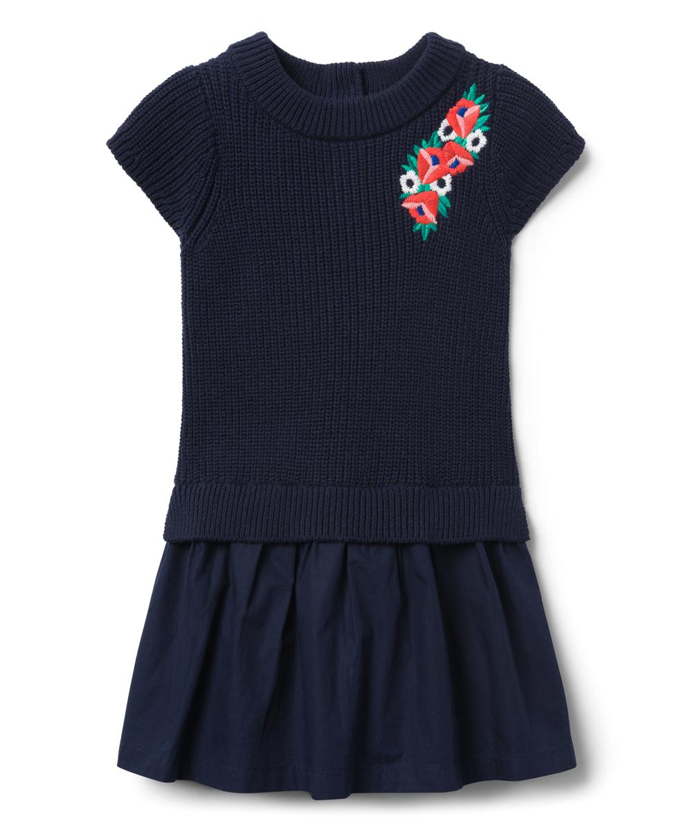 0df4337e70b50a Janie & Jack Navy Embroidered Drop-Waist Sweater Dress - Girls | Zulily