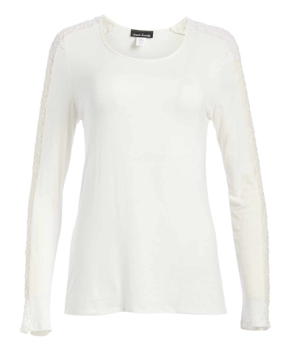 Inner Beauty Women's Blouses IVORY - Ivory Lace-Accent Scoop Neck Top - Women