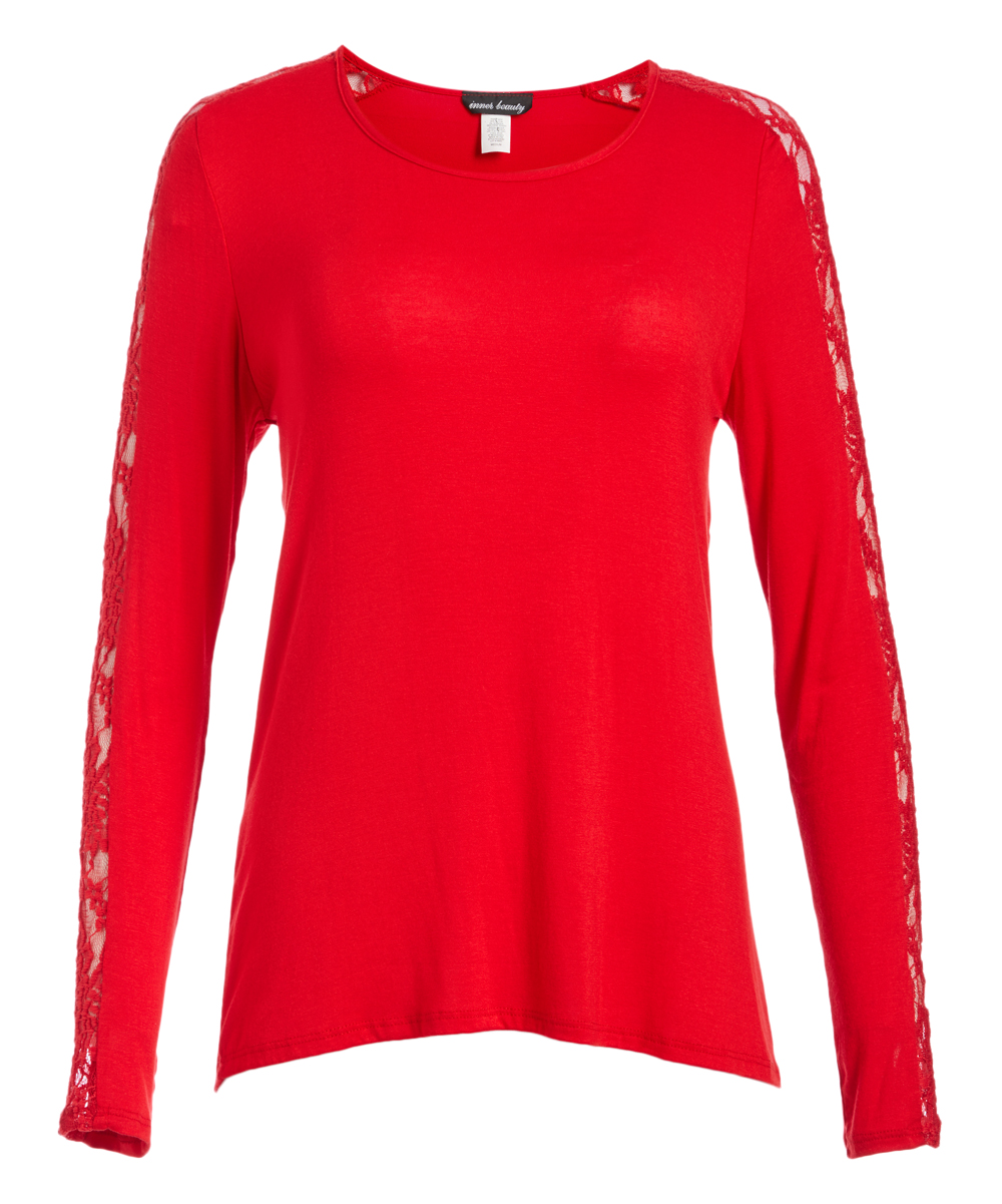 Inner Beauty Women's Blouses RED - Red Lace-Accent Scoop Neck Top - Women