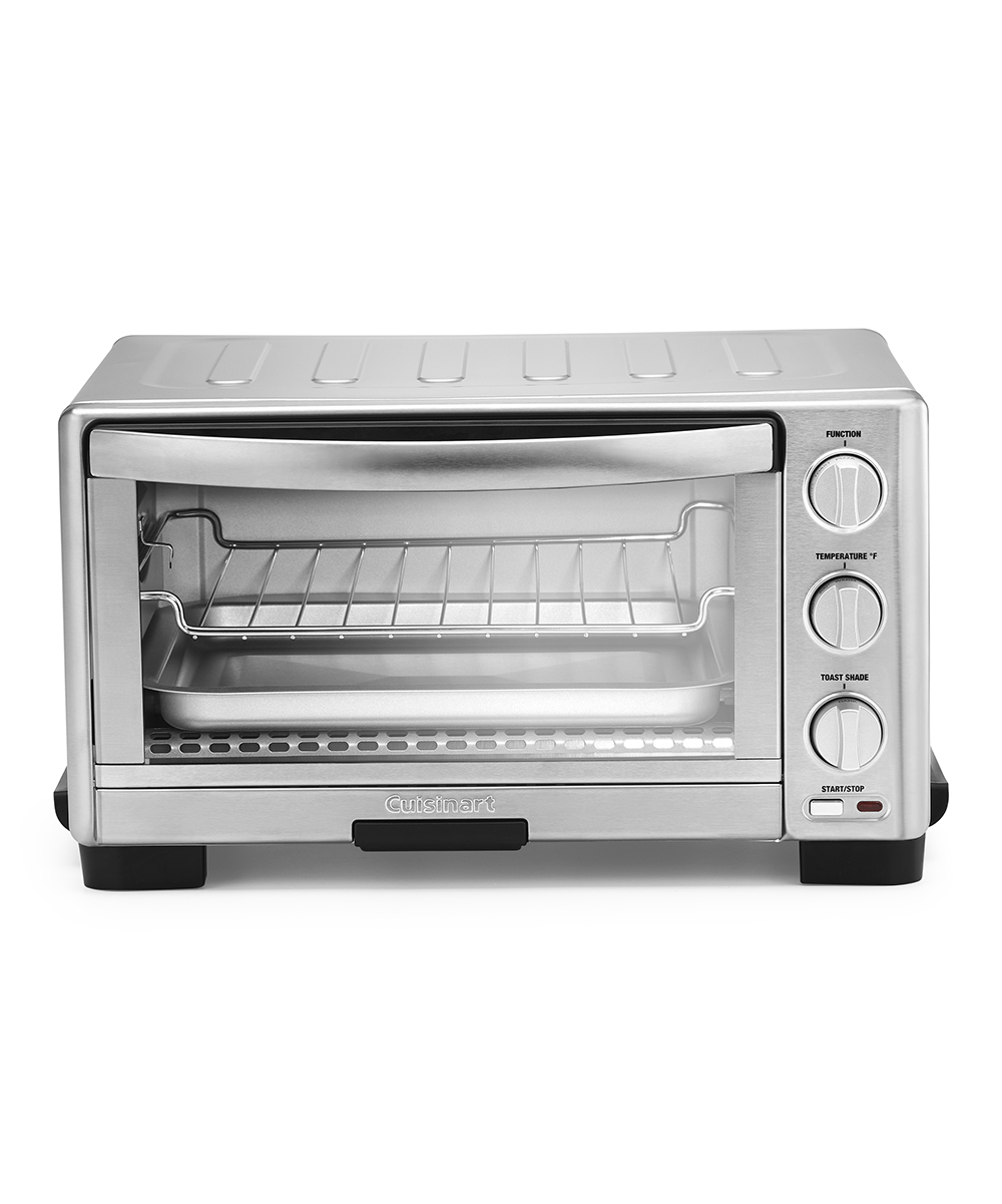 Cuisinart  Toaster Ovens  - Stainless Steel Toaster Oven/Broiler Stainless Steel Toaster Oven/Broiler. Toast, bake and broil your meals with this high-power oven featuring six versatile cooking functions. The rack slides out automatically for quick access to your finished recipes, and the nonstick interior makes cleaning a breeze.FeaturesAlways Even technology for even toastingEasy clean nonstick interiorSix cooking functions (toast, bagel, bake, broil, pizza and keep warm)Product details11.7'' W x 7.87'' H x 15.86'' DFits 11'' pizza or six slices of toastStainless steel / glassAdjustable thermostatAutomatic slide-out rackRemovable crumb tray1,800 WImported