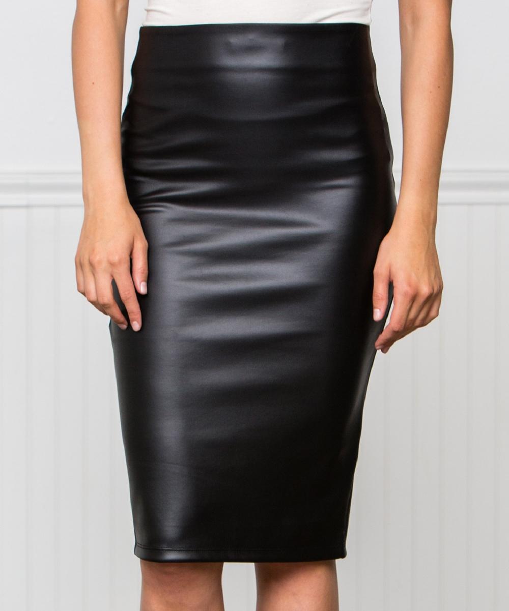 aa0379b379 all gone. Black Faux Leather Pencil Skirt - Women