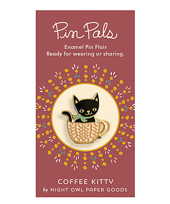 Night Owl Paper Goods  Brooches and Pins  - Coffee Kitty Enamel Pin