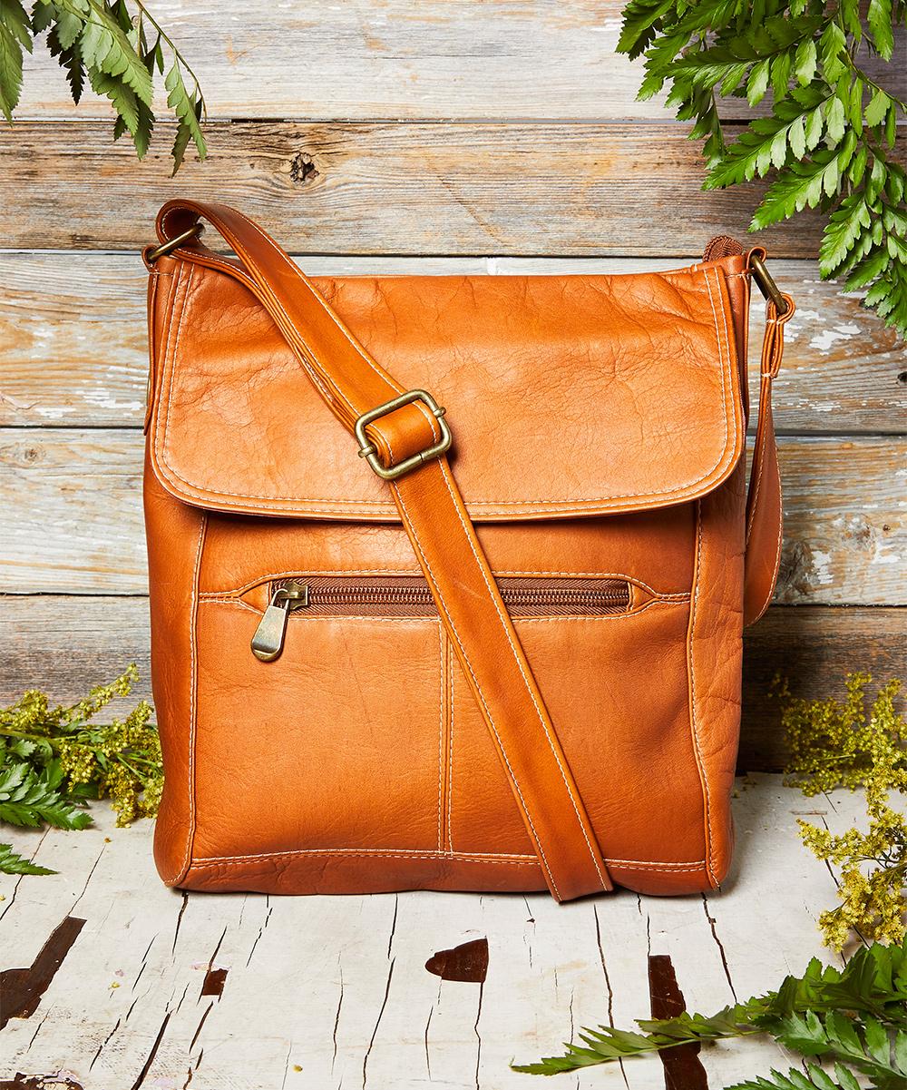 LeDonne Tan Front Flap Leather Crossbody Bag