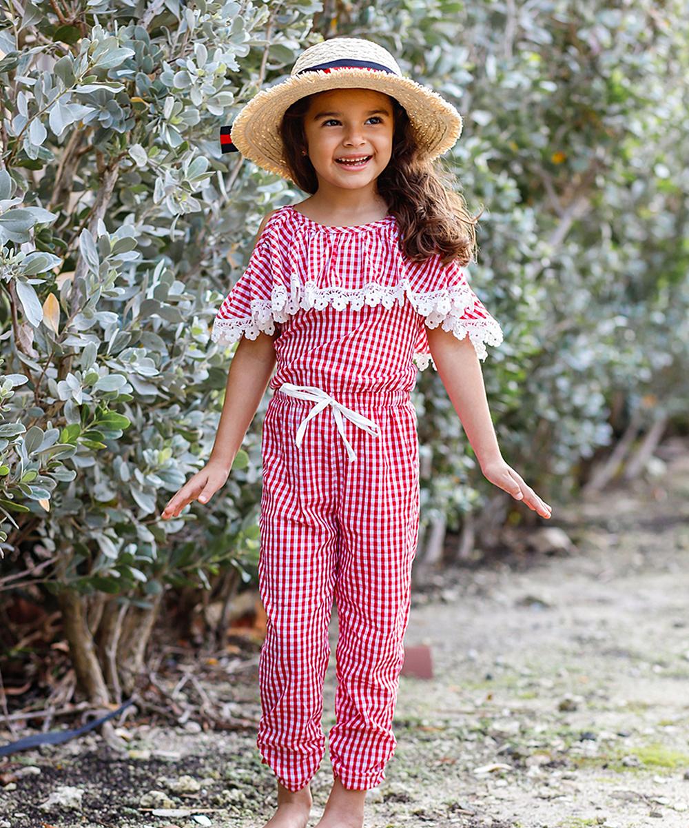 30d7f80cb7 Mia Belle Girls Red Gingham Crochet-Trim Ruffle-Yoke Jumpsuit - Toddler &  Girls