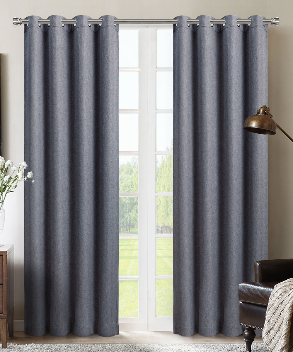 Silk Home  Window Curtains Charcoal - Charcoal Metro Blackout Curtain Panel