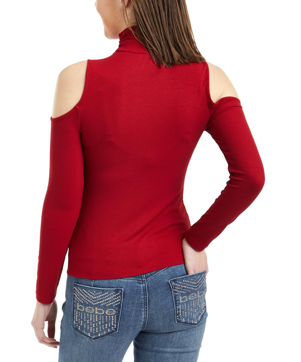 b3e67efea7e6c ... Womens RED DAHLIA Red Dahlia Logo Mock Neck Ribbed Cold-Shoulder Top -  Alternate Image