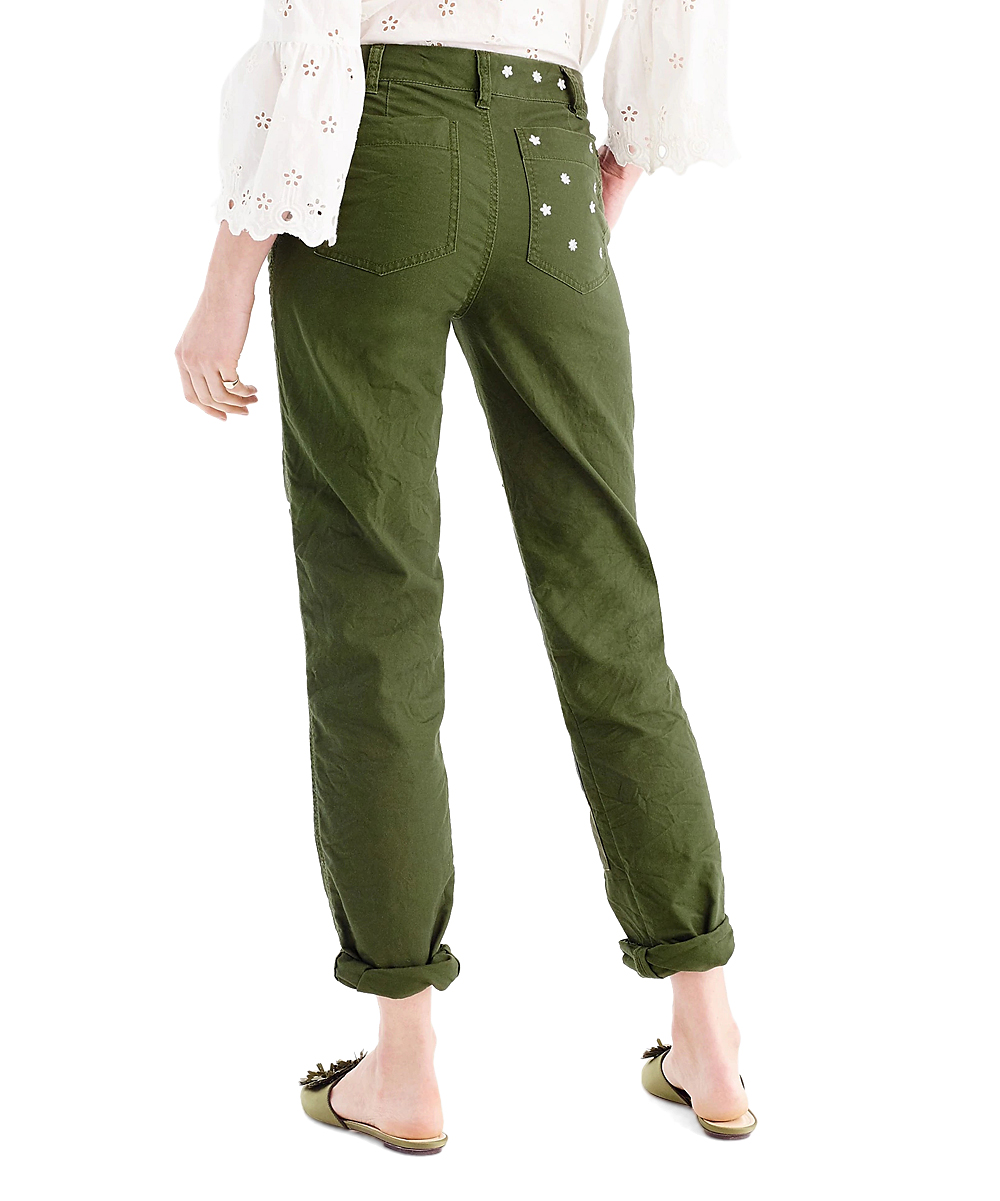 1ba6841ba1755 ... Womens PINE FOREST Pine Forest Embroidered Patch Boyfriend Chino Pants  - Alternate Image 3