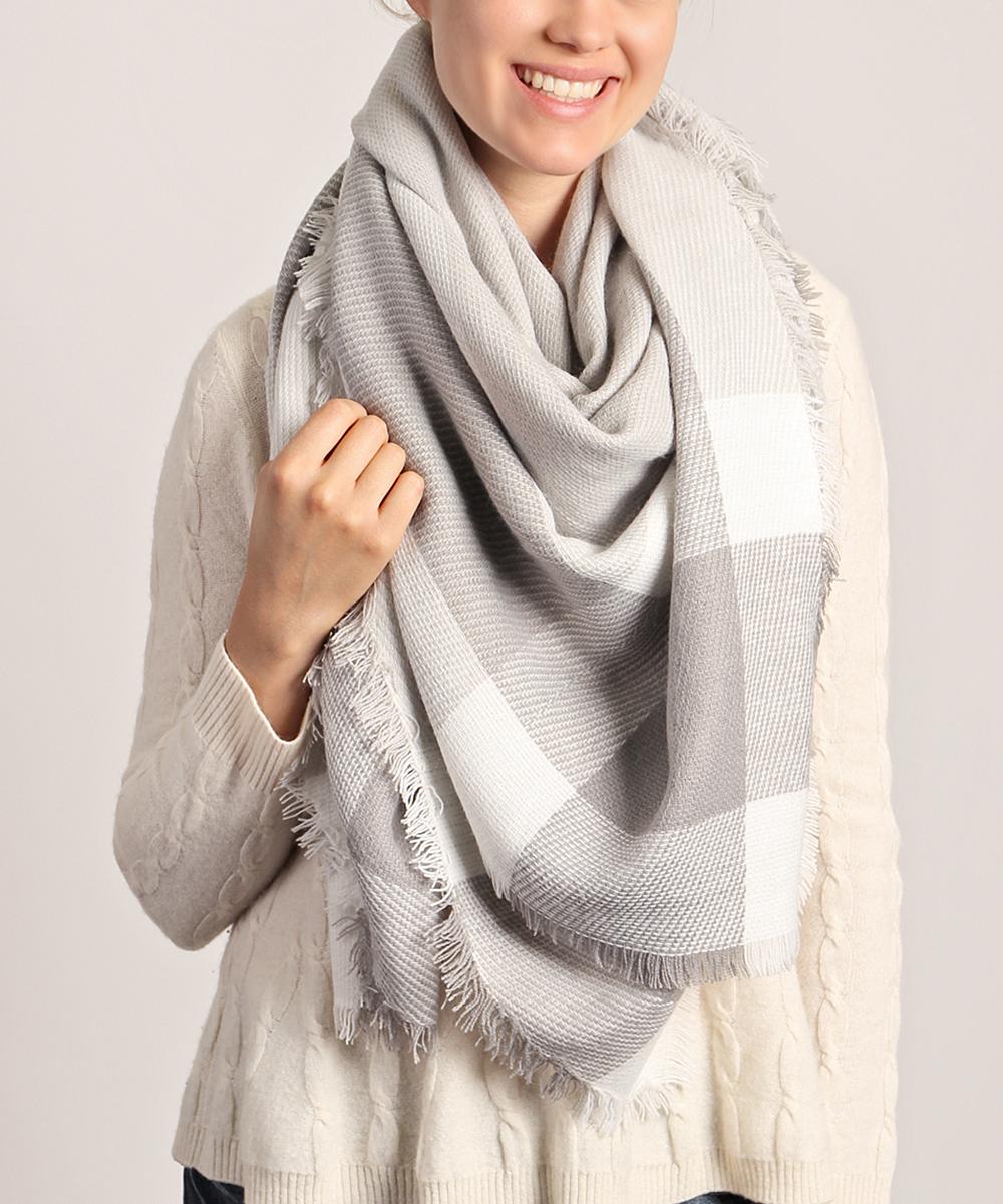 86df4f5b4 Riah Fashion Gray & White Plaid Blanket Scarf - Women   Zulily