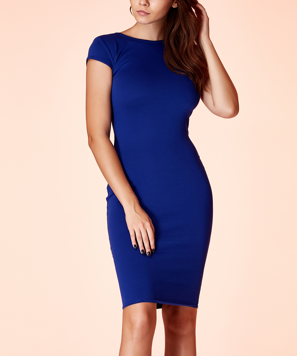 100d3799ff5 Blue Cap-Sleeve Bodycon Dress - Women