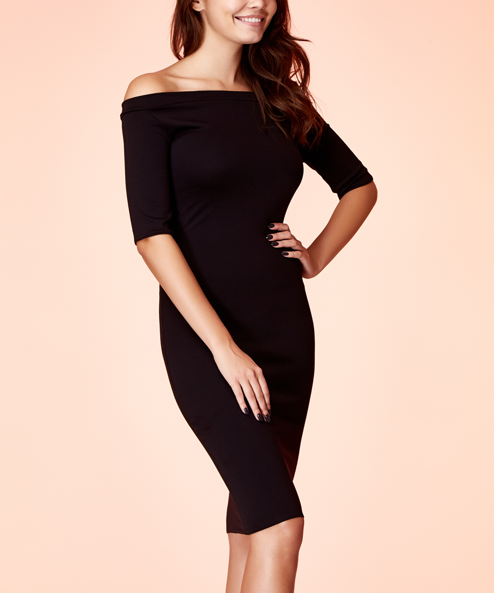 fbb41d83684 Black Three-Quarter Sleeve Off-Shoulder Dress - Women
