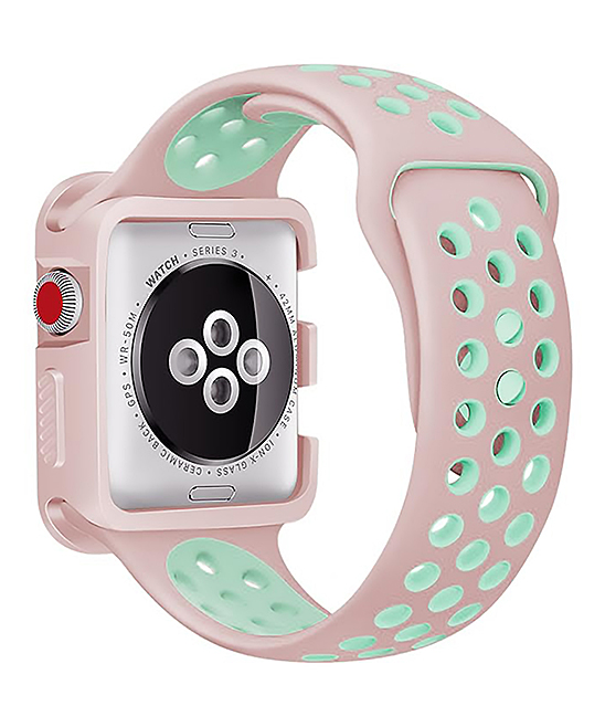 Waloo  Replacement Bands Pink/Blue - Pink & Blue Sports Apple Watch Strap & Case