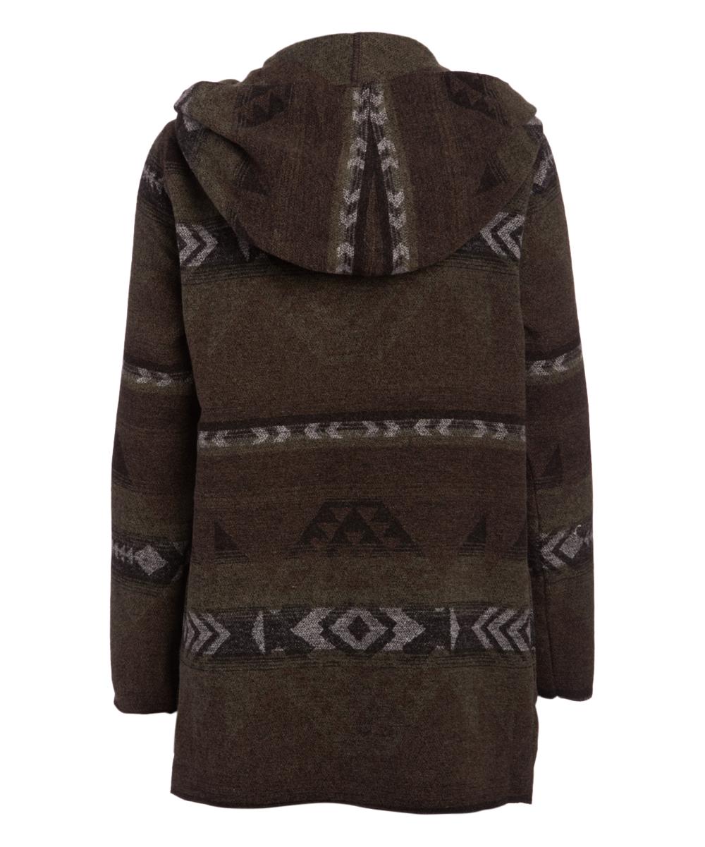 Love This Product Brown Olive Geometric Wool Blend Hooded Blanket Jacket Women