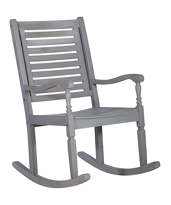 Astonishing Walker Edison Gray Wash Acacia Wood Outdoor Rocking Chair Bralicious Painted Fabric Chair Ideas Braliciousco