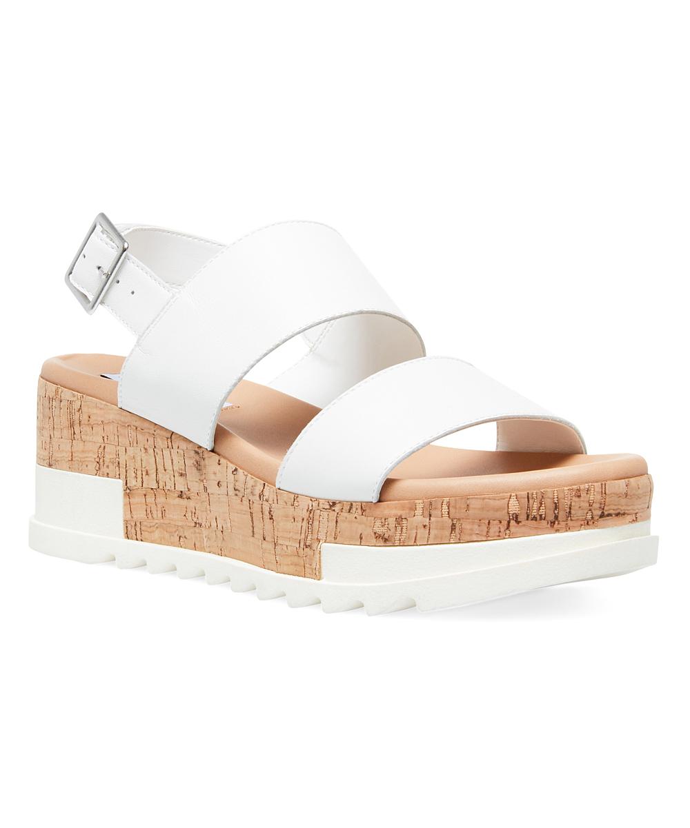 3f4fa22212e Steve Madden White Brenda Leather Wedge Sandal - Women