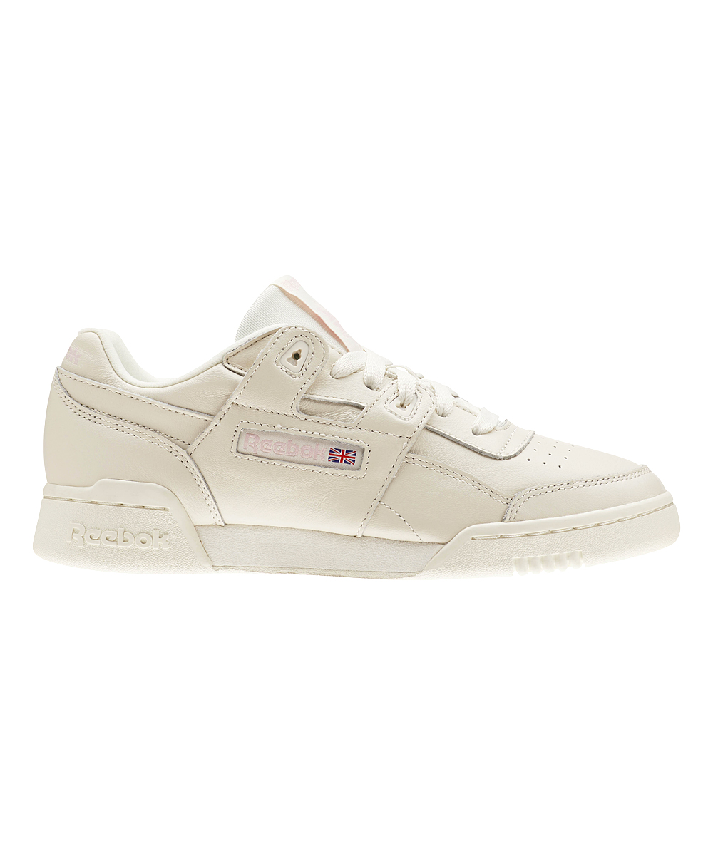 81a295f922b Reebok Vintage White   Practical Pink Workout Lo Plus Leather ...